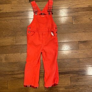 CHILDRENS PLACE ORANGE PLAID HEM OVERALLS